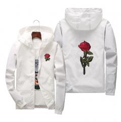 Rose Jacket Windbreaker Men And Women's Jacket New Fashion White And Black Roses Outwear Coat white s