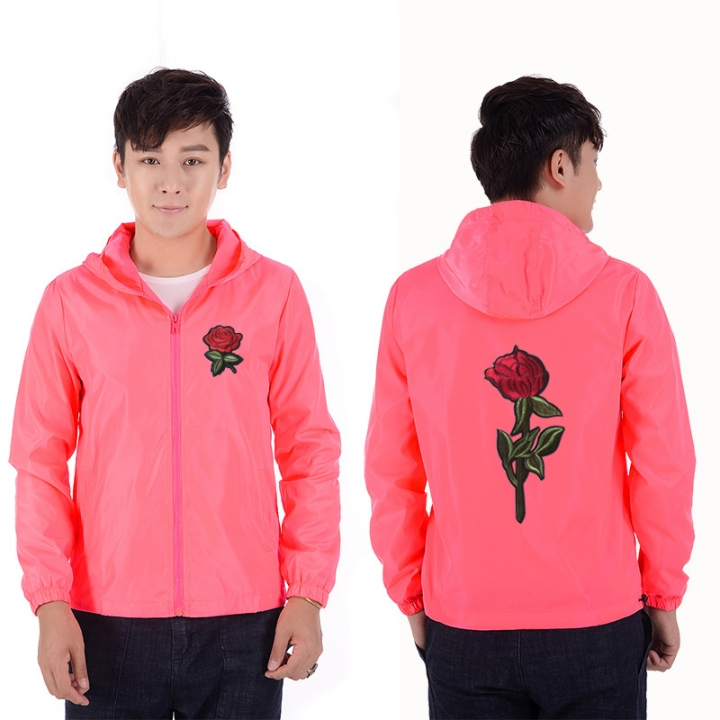 c01bbdae00 Rose Jacket Windbreaker Men And Women's Jacket New Fashion White And Black  Roses Outwear Coat pink