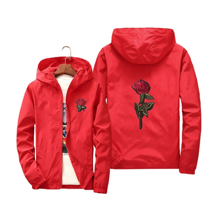 c6ce004bc4 Rose Jacket Windbreaker Men And Women's Jacket New Fashion White And Black  Roses Outwear Coat red