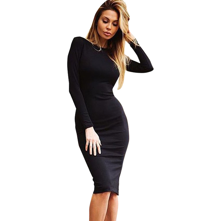 49824adafe0 Women Sexy Bandage Bodycon Summer Evening Cocktail Party Long Sleeve Mini  Dress s black