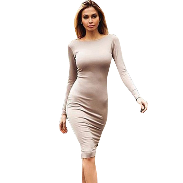 d66562273ce Women Sexy Bandage Bodycon Summer Evening Cocktail Party Long Sleeve Mini  Dress xl camel