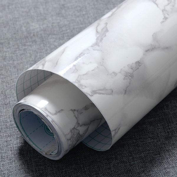 1Roll Granite Marble Effect Contact Wall Self Adhesive Peel Stick Rolling Paper Decor White Regular