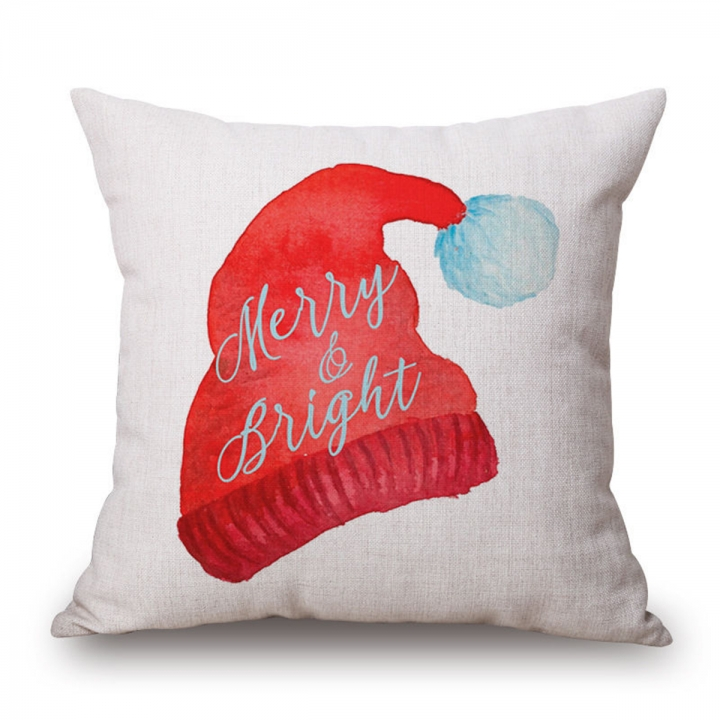 18'' Cotton Linen Sofa Car Home Waist Cushion Cover Elk Throw Pillow Case XMAS #1 Hat regular