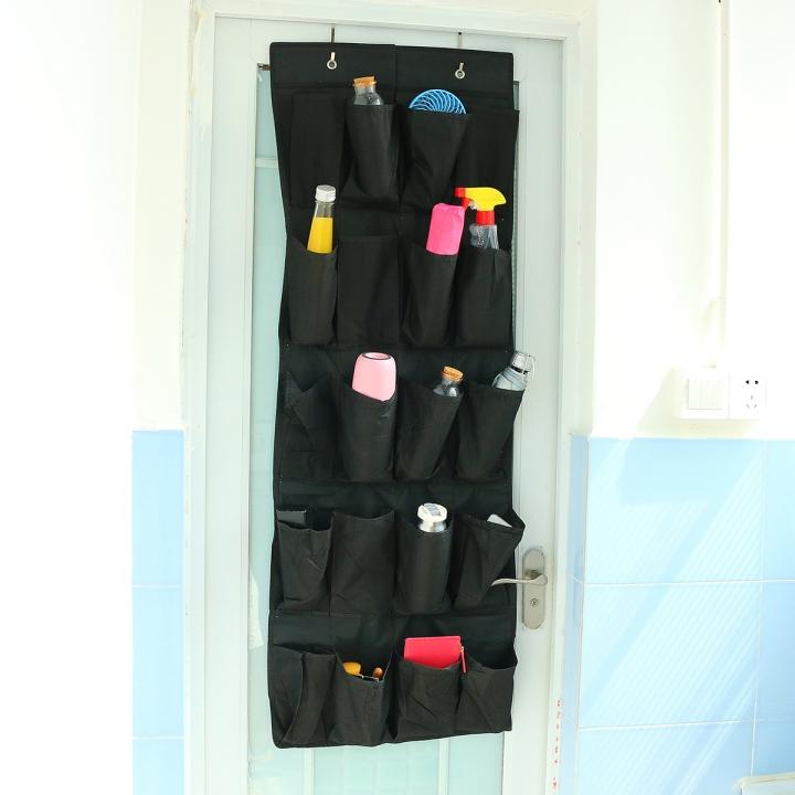 20 Pocket Over the Door Shoe Organizer Rack Hanging Storage Hanger Space Saver Black
