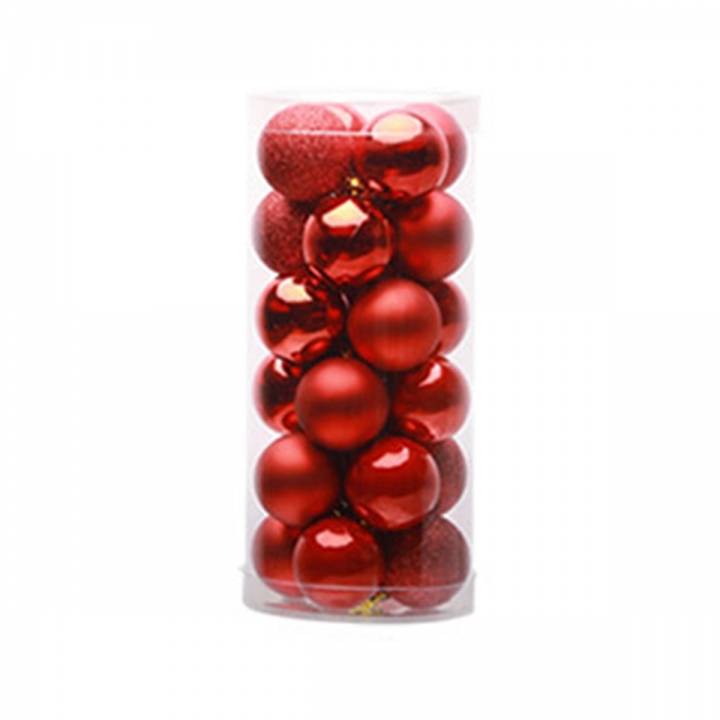 24PCS Glitter Christmas Balls Baubles Tree Hanging Ornament Wedding Party Decor Red cylinder