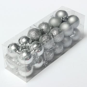 24Pcs Christmas Tree Xmas Balls Decorations Baubles Party Wedding Ornament 3cm Silver 24Pcs