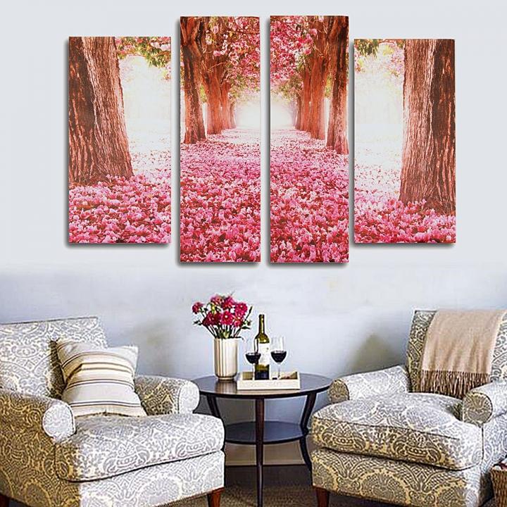 4Pcs Cherry Blossom Abstract Canvas Art Oil Painting Home Wall Decor Set Unframed muti Regular