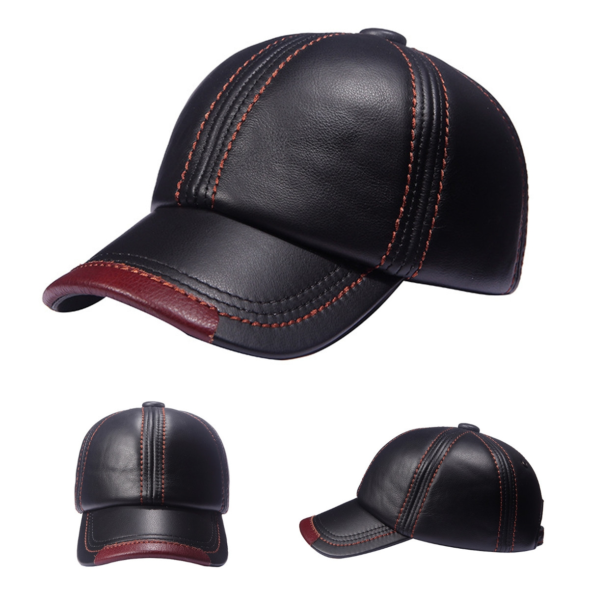 3fde6e3760b Men s PU Leather Baseball Cap Metal Buckle Outdoor Warm Adjustable Snapback  Hats Black Normal  Product No  907368. Item specifics  Seller SKU SKU775856  ...