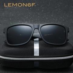 Square Sunglasses Designer Vintage Fashion Men Sun Glasses Driving Travel Polarized Sunglasses Matte black+black one size