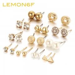 12 pairs of Earrings set combination zircon crystal peach heart triangle diamond earrings jewelry gold color 12 pairs / set