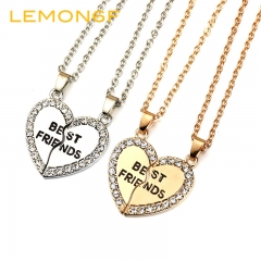 Fashion Heart-shaped Pendant Necklace Best Friend Letter Jewellery silver color one size