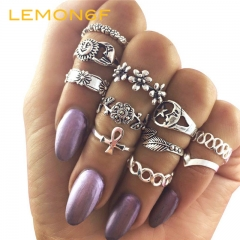 11pc/set Retro Goldplated Silver Hollow Carved Ring Set Summer Style Unique Fashion Jewellery silver color one size