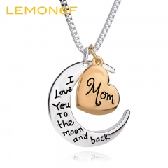 I Love You To The Moon Silver Necklace Vintage Necklaces Pendants Fashion Women Jewelry Gift gold color one pieces