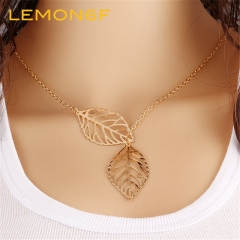 Fashion Gold Silver Plated Chain Necklace Leaf Casual Long Pendants Gifts Women Necklaces Jewelry gold color one pieces