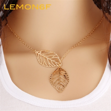 Kilimall fashion gold silver plated chain necklace leaf casual long fashion gold silver plated chain necklace leaf casual long pendants gifts women necklaces jewelry gold color mozeypictures Choice Image