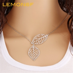 Fashion Gold Silver Plated Chain Necklace Leaf Casual Long Pendants Gifts Women Necklaces Jewelry silver color one pieces