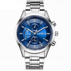 Men's black gold steel sports luminous waterproof burst three imitation six-pin black watch Black + Blue one piece