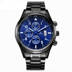 Multi-functional watch men's waterproof sports cross-border foreign trade Quartz male watch black + blue one piece