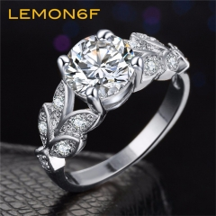 New Leaf Flower Wedding Rings Women Lover Engagement Ring Crystal Fashion Jewelry Gift silver color size 8 1 piece