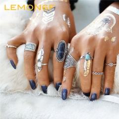 8pcs/Set Boho Jewelry Stone Midi Ring Sets for Women Anel Vintage Silver Color Flower Rings Gift Blue silver color 8 pieces /set