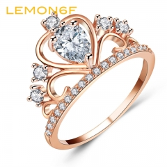 Wedding Jewelry Finger Crystal Heart Crown Ring Women New Lover Cubic Zirconia Ring Engagement Party gold color size 7 1 piece