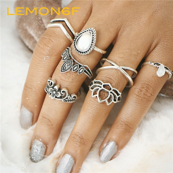 Hollow Lotus Ring Set Women Punk Vintage Retro Finger Flower Knuckle Midi Rings Party Boho Jewellery