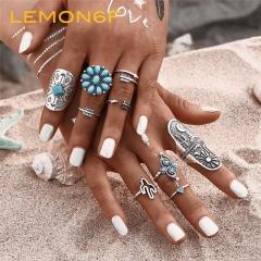 9Pcs/Set Fashion Blue Stone Bohemian Ring Set Vintage Steampunk flower Knuckle Rings Women Jewelry silver color 9 pieces