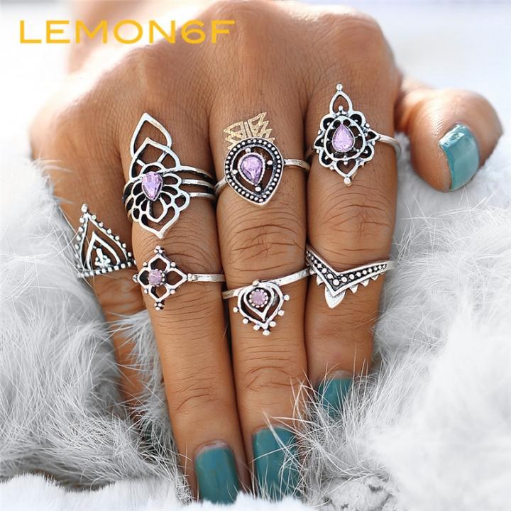 7pcs/Set Boho Flower Ring Set Vintage Tibetan Purple Crystal Knuckle Midi Rings Women Punk