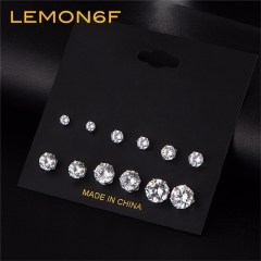 Fashion 6 Pair/set Punk Crystal Stud Earrings Set Women Round Flower Fashion Design Jewelry silver color 6 pairs/set