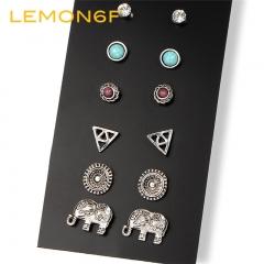 6 Pairs/Set Summer Style Vinatge Brincos Elephant Stud Earring Boho Flower Crystal Earring Set Women silver color 6 pairs/set