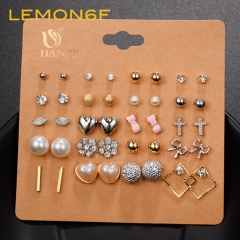 20 pairs Fashion Korean version of the jewelry explosion set suit earrings pearl bow earrings As shown 20 pair