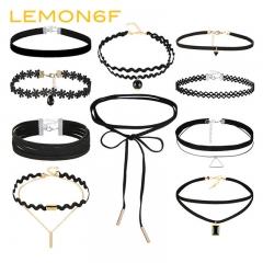 Bohemian Gothic Choker Necklaces Set Women Black Lace Long Necklace Female Collier Chain Jewelry black color 12 pieces