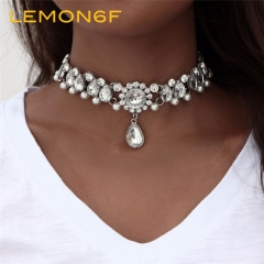 Boho Collar Choker Water Drop Crystal Beads Choker Necklace pendant Vintage Simulated Pearl silver color 1 piece