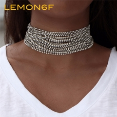 Multiple layers Rhinestone Crystal Choker Necklace for Women Maxi Statement Necklace Collier Jewelry silver color 1 piece