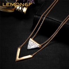 V Letter Shape Triangle Stone Double Layer Pendant Necklaces Statement Necklace Party Jewelry Women white color 1 piece