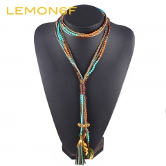 Maxi colar Faceted Beads Necklaces Women Fashion  Long Necklace Statement Jewelry Collares Collier green color 1 piece