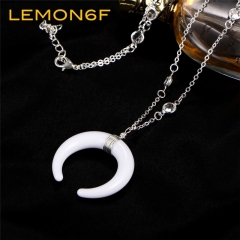 Bohemian Chokers Acrylic Ox Horn Moon Crescent Necklaces Vintage Handmade Crystal Necklace for Women silver color 1 piece