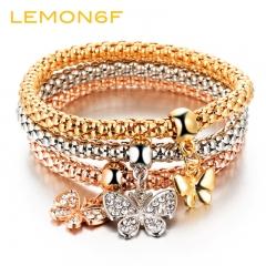 Hot 3 PCS/Set Crystal Butterfly Bracelet & Bangle Multiple Shape Elastic Heart Bracelets For Women as shown 3 pieces