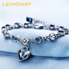 Heart of the Heart Heart Heart Pendant Austrian crystal diamond women bracelet fashion bracelet silver blue color 1 piece