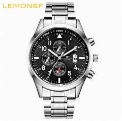 Calendar luminous steel strap Multi-functional watch men's waterproof sports   Quartz male watch black + white one piece