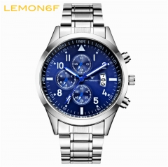 Calendar luminous steel strap Multi-functional watch men's waterproof sports   Quartz male watch white + blue one piece