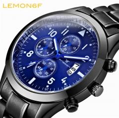 Calendar luminous steel strap Multi-functional watch men's waterproof sports   Quartz male watch black + blue one piece