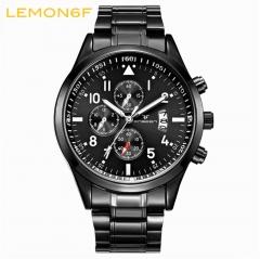 Calendar luminous steel strap Multi-functional watch men's waterproof sports   Quartz male watch black + black one piece