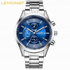 Men's Stainless steel Band Quartz Watches sports luminous Men Watch waterproof Luminous watch White + Blue one piece