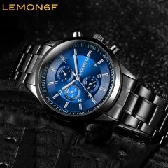 Men's Stainless steel Band Quartz Watches sports luminous Men Watch waterproof Luminous watch Black + Blue one piece