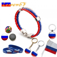 2018 Russia World Cup 32 national team keyring silicone bracelet bracelet flag souvenir combination russia 15 pieces