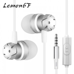 3.5mm In-Ear Turbo Design Earphones Metal Earbuds Stereo Super Bass Headset Handsfree With Mic White White color