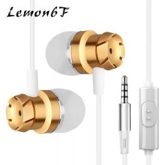 3.5mm In-Ear Turbo Design Earphones Metal Earbuds Stereo Super Bass Headset Handsfree With Mic White gold color