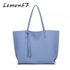 Women Messenger Bags Casual Tassel Handbags Female Designer Bag Vintage Big Size Tote Shoulder Bag blue color high capacity