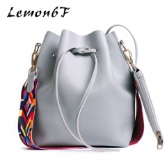 Women bag with Colorful Strap Bucket Bag Women PU Leather Shoulder Bags Crossbody messenger Bags grey color normal